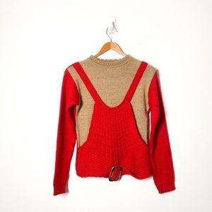 Vintage Red Tan Knit Cottagecore Crewneck Sweater